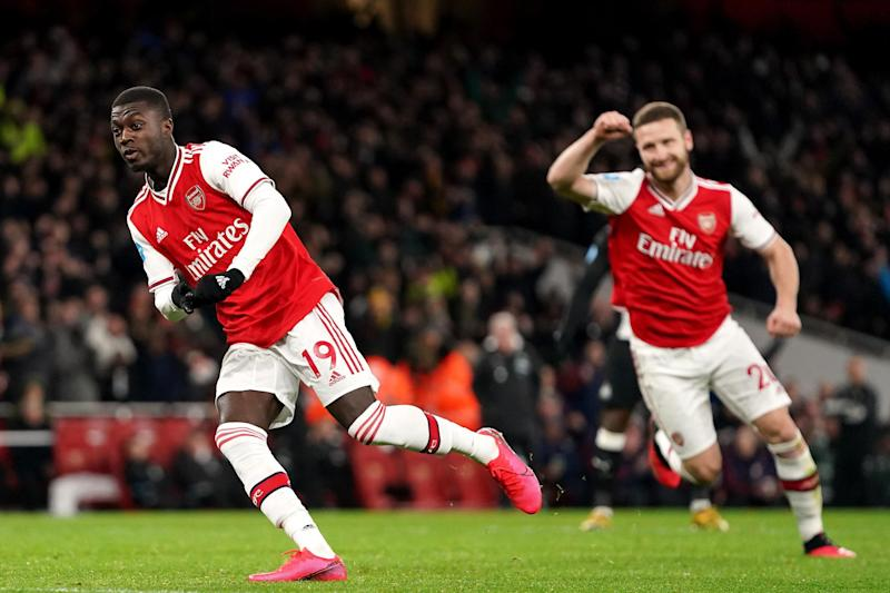 Main man: Nicolas Pepe scored one and set up two more for Arsenal Photo: PA