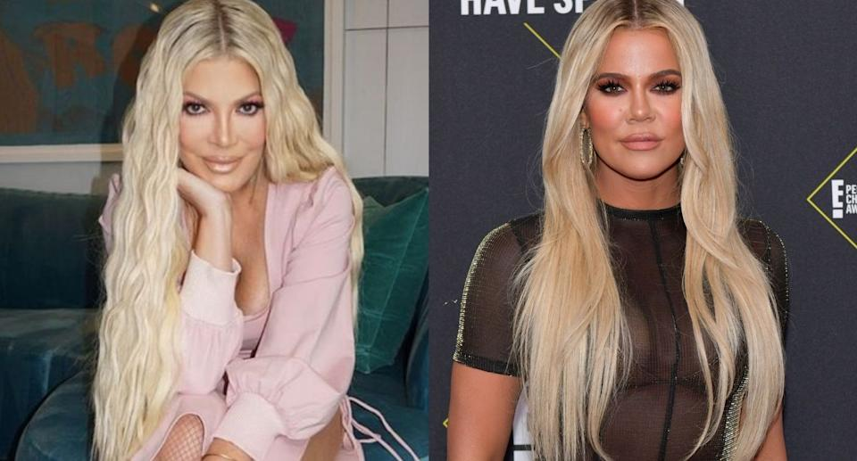 Tori Spelling's recent makeover is drawing comparisons to Khloé Kardashian. (Images via Instagram/ToriSpelling and Getty Images)