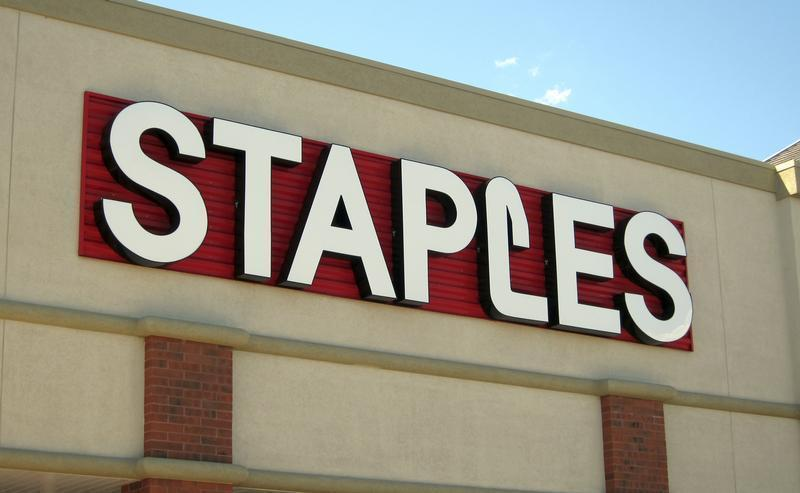 The sign outside of the Staples store is pictured in Broomfield