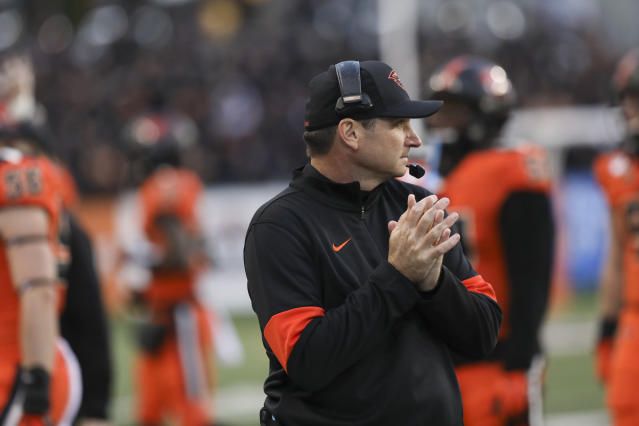 Oregon State head coach Jonathan Smith looks out to the field during the second half of an NCAA college football game against Stanford in Corvallis, Ore., Saturday, Sept. 28, 2019. (AP Photo/Amanda Loman)