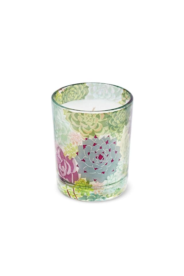"""<p><em>$15</em></p><p><a rel=""""nofollow"""" href=""""https://www.papersource.com/item/Succulent-Print-Gardenia-Candle/10002862.html"""">SHOP NOW</a></p><p>Not only does this candle come in an adorable succulent-printed vessel, but it has a delightful gardenia scent. </p>"""