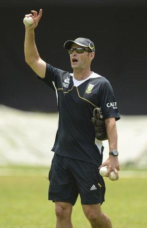 South Africa's Kirsten gestures during a training session at Moors cricket ground in Colombo September 18, 2012, ahead of South Africa's Group C World Twenty20 match against Zimbabwe at Hambantota on Thursday.