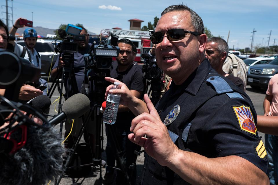 El Paso Police Department Sgt. Enrique Carillo briefs media on a shooting that occurred at a Wal-Mart near Cielo Vista Mall in El Paso, Texas, on August 3, 2019. (Photo: Joel Angel Juarez/AFP/Getty Images)