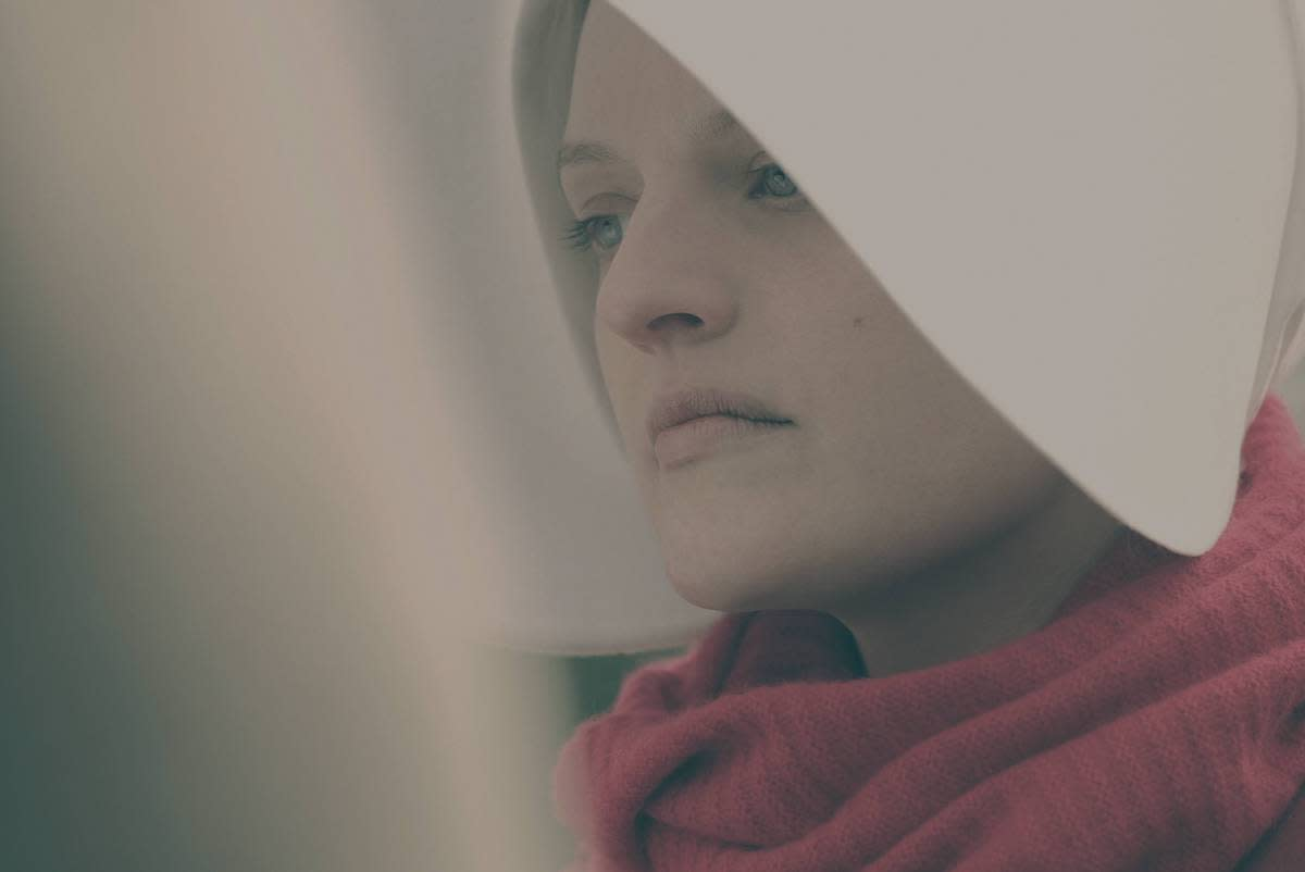 <p>Elisabeth Moss as Offred in Hulu's The Handmaid's Tale. (Credit: George Kraychyk/Hulu) </p>