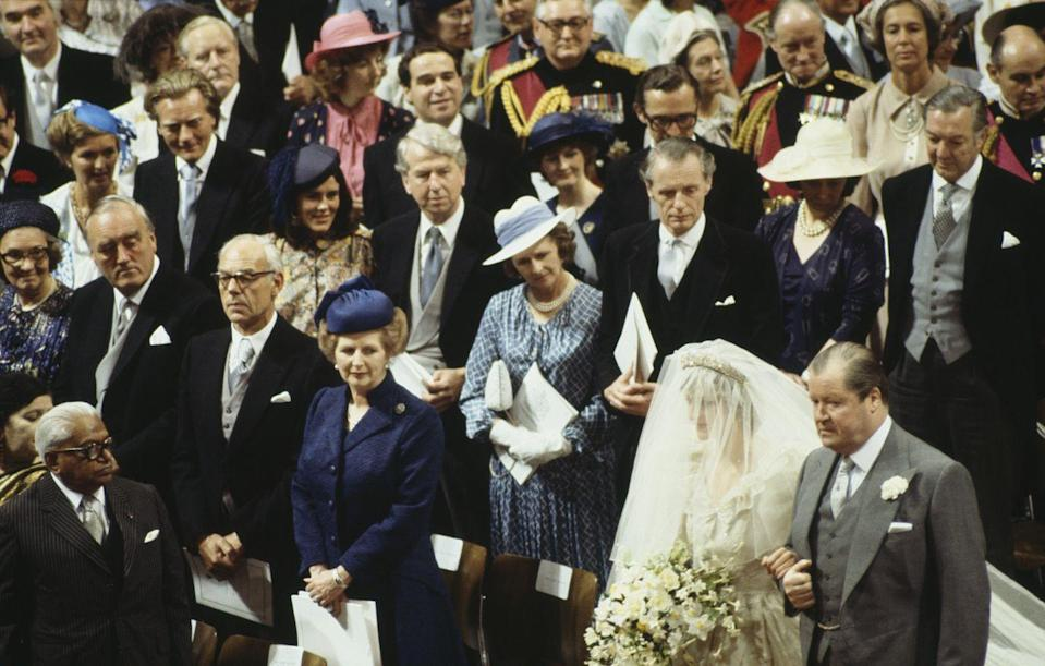 <p>The pews were packed with more than 3,500 guests. Prime Minister Margaret Thatcher is to Diana's right.</p>