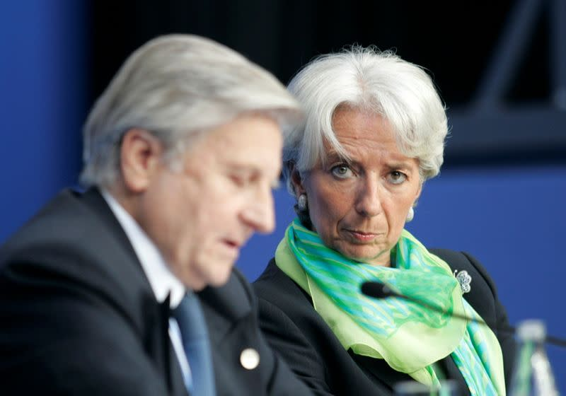 FILE PHOTO: France's Finance Minister Lagarde and ECB President Trichet attend a news conference after a Euro zone finance ministers and central bankers Eurofi conference in Nice