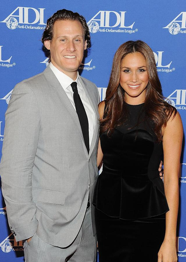 Trevor Engelson and Meghan Markle in October 2011. (Photo by Michael Kovac/WireImage)