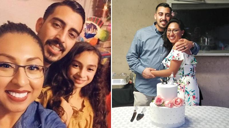 Joe Melgoza and Esther Melgoza smile over a wedding cake and pictured with Joe's 11-yer-old daughter Lilly