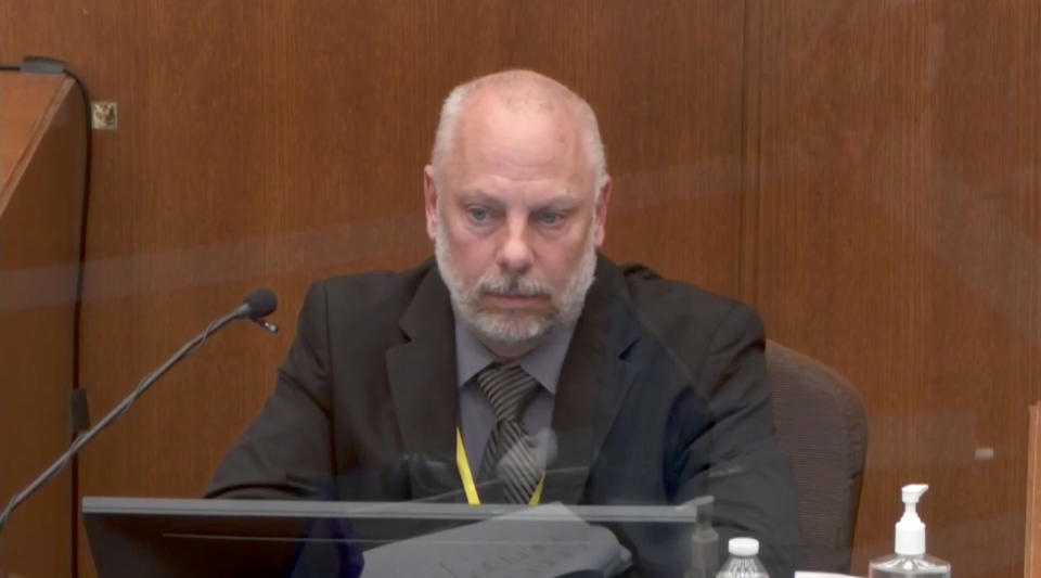 Minneapolis Police Sgt. David Pleoger testifies in the Derek Chauvin trial in Minneapolis, MN. on April 1, 2021. (Court TV via Reuters Video)