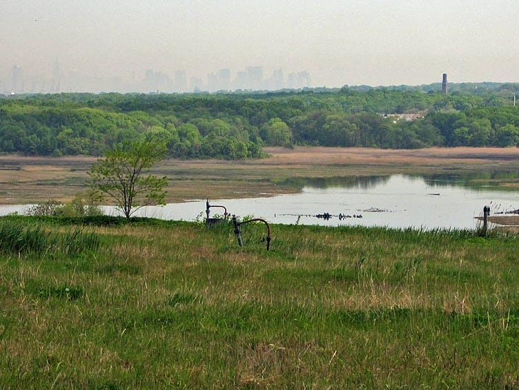 View of Manhattan across Freshkills Park, which has been built on the site of the landfill where the debris from 9/11 was buried.