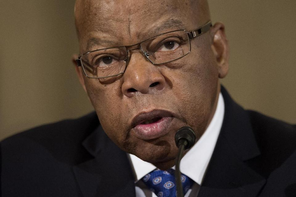 "FILE - In this Jan. 11, 2017 file photo, Rep. John Lewis, D-Ga. testifies on Capitol Hill in Washington at the confirmation hearing for Attorney General-designate, Sen. Jeff Sessions, R-Ala., before the Senate Judiciary Committee. Lewis says he's doesn't consider Donald Trump a ""legitimate president,"" blaming the Russians for helping the Republican win the White House. (AP Photo/Cliff Owen, File)"