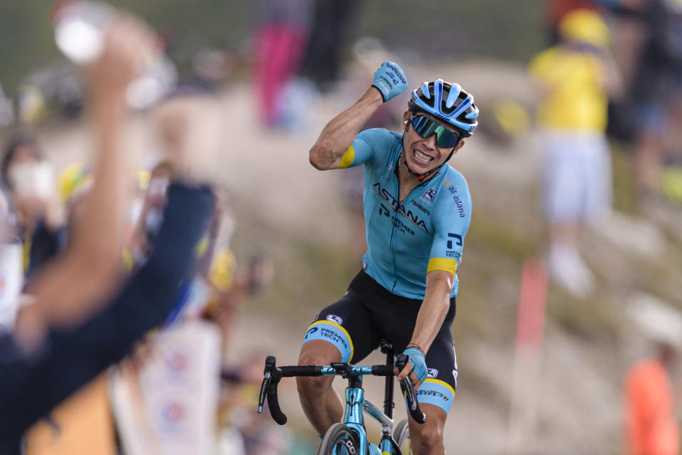 MÉRIBEL COL DE LA LOZE, FRANCE - SEPTEMBER 16: UCI World Team Astana Miguel Ángel López of Colombia crosses the finishing line for winning the Stage 17 of 107th Tour de France 2020 on September 16, 2020 in Méribel Col De La Loze, France. (Photo by Marcio Machado/Eurasia Sport Images/Getty Images)