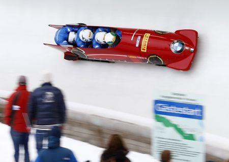 Bobsleigh - BMW IBSF Bob & Skeleton World Championships - 4-men third race - Koenigssee, Germany - 26/2/17 - Simone Bertazzo, Simone Fontana, Constantino Ughi and Mattia Variola of Italy in action. REUTERS/Arnd Wiegmann