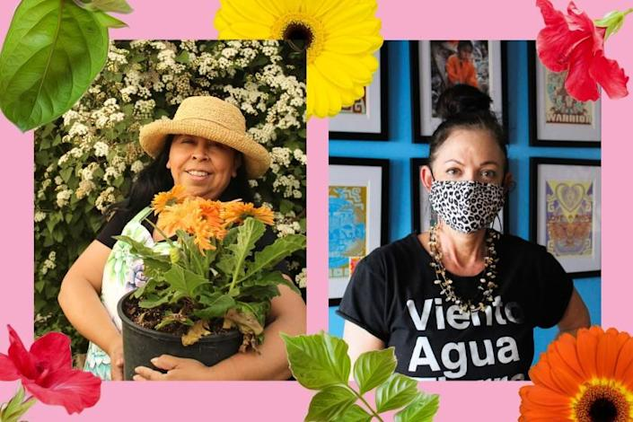 Portraits of two women in their gardens, photo of flowers surround them