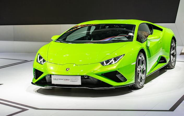 Authorities said Hines spent $318,000 of the PPP loan money on a 2020 Lamborghini Huracan. A Lamborghini Huracan Evo RWD sports car is seen at an automobile exhibition in China in 2020. (Photo: VCG via Getty Images)