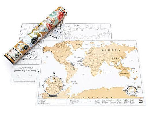 "For the friend who spends every work vacation in another country, this scratch map is a fun way to keep track of all their destinations. <a href=""https://www.luckies.co.uk/gift/scratch-map-travel/"" target=""_blank"">Get it here.</a>"