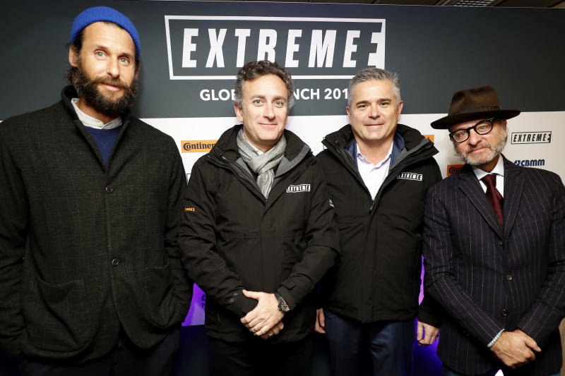 LONDON, ENGLAND - JANUARY 31: Founder & CEO of Formula E, Alejandro Agag, Chairman of Extreme E, Gil de Ferran, Chief Explorer of Extreme E, David Mayer de Rothschild, and Artistic Director of Extreme E, Fisher Stevens at the Global Launch of new electric SUV race series, Extreme E, on board the RMS St Helena docked on the Thames at HMS Belfast on January 31, 2019 in London, England. (Photo by Luke Walker/Getty Images for Extreme E)