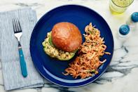 """Our vegetarian play on the classic chicken salad swaps in creamy, protein-packed <a href=""""https://www.epicurious.com/ingredients/12-ways-with-humble-chickpeas-gallery?mbid=synd_yahoo_rss"""" rel=""""nofollow noopener"""" target=""""_blank"""" data-ylk=""""slk:chickpeas"""" class=""""link rapid-noclick-resp"""">chickpeas</a>. Pack the buns separately, and assemble in the wild. <a href=""""https://www.epicurious.com/recipes/food/views/chickpea-salad-sandwich-with-creamy-carrot-radish-slaw?mbid=synd_yahoo_rss"""" rel=""""nofollow noopener"""" target=""""_blank"""" data-ylk=""""slk:See recipe."""" class=""""link rapid-noclick-resp"""">See recipe.</a>"""