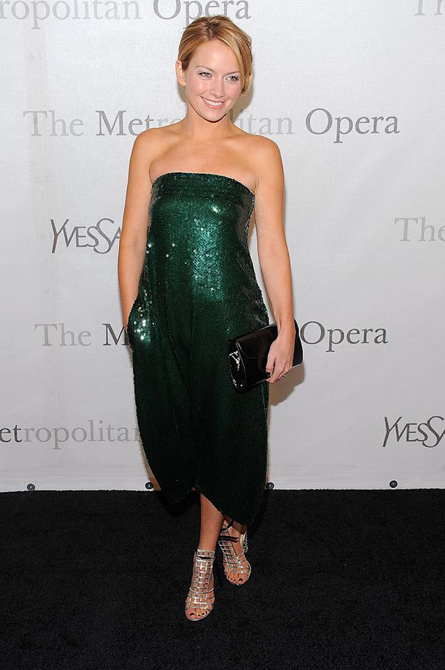 "Becki Newton celebrated St. Patrick's Day early in this sparkling strapless number. Dimitrios Kambouris/<a href=""http://www.wireimage.com"" target=""new"">WireImage.com</a> - March 15, 2009"
