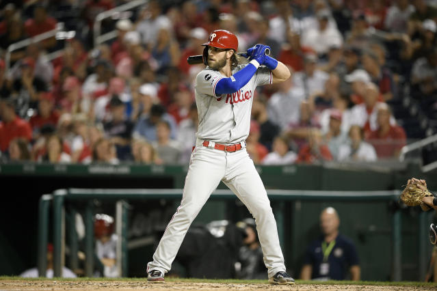 Phillies right fielder Bryce Harper spoke publicly about the Nationals making the World Series for the first time. (AP Photo/Nick Wass)