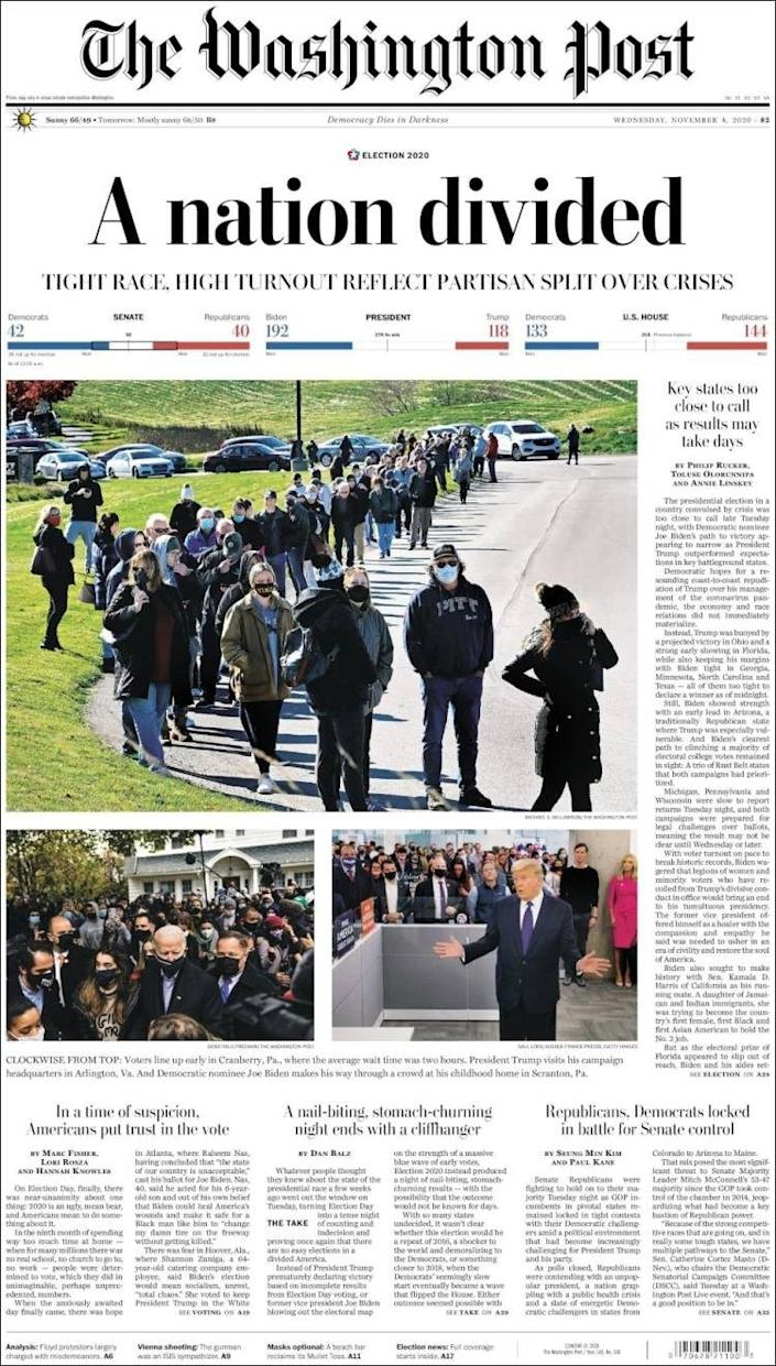 The front page of the Washington Post
