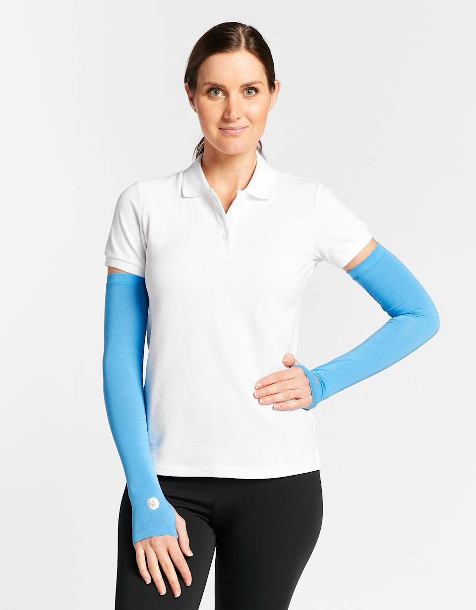 """<p>solbari.com</p><p><strong>$35.00</strong></p><p><a href=""""https://usa.solbari.com/collections/shop-all-women/products/sun-protective-arm-sleeves-upf50-i-sensitive-fabric"""" rel=""""nofollow noopener"""" target=""""_blank"""" data-ylk=""""slk:Shop Now"""" class=""""link rapid-noclick-resp"""">Shop Now</a></p><p>If you're set on wearing a short-sleeve shirt (say, with a uniform or inside a hot space), bring these <strong>UPF 50+ arm sleeves</strong> along with you; they slip on for easy protection without forcing you to wear a second layer.</p>"""