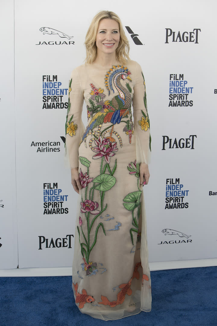 In a surprising sartorial move, the actress chose a Gucci gown for the star-studded event. [Photo: Getty]