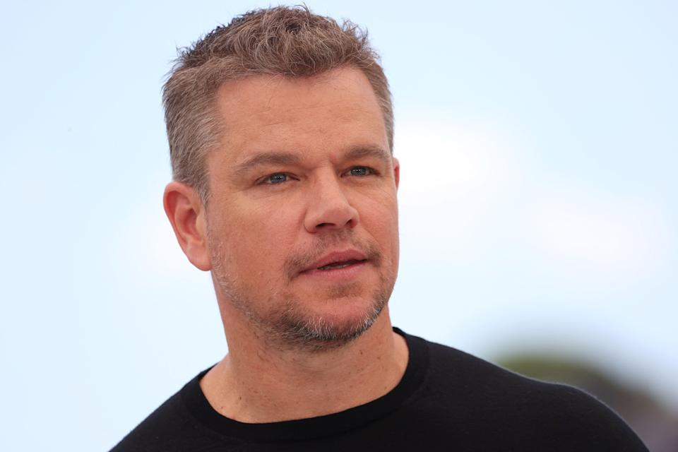 """Matt Damon poses during a photocall for the film """"Stillwater"""" at the 74th edition of the Cannes Film Festival in Cannes, southern France, on July 9, 2021."""