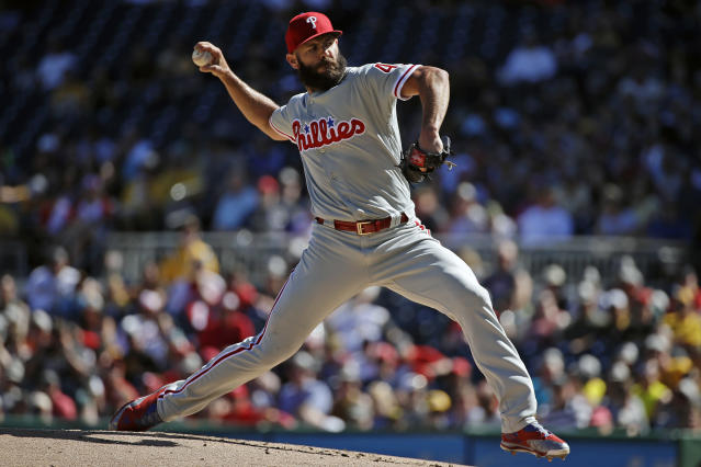 "<a class=""link rapid-noclick-resp"" href=""/mlb/teams/phi"" data-ylk=""slk:Philadelphia Phillies"">Philadelphia Phillies</a> starting pitcher <a class=""link rapid-noclick-resp"" href=""/mlb/players/8623/"" data-ylk=""slk:Jake Arrieta"">Jake Arrieta</a> has struggled to miss bats and fantasy owners should expect his ERA to rise in the second half. (AP Photo/Gene J. Puskar)"