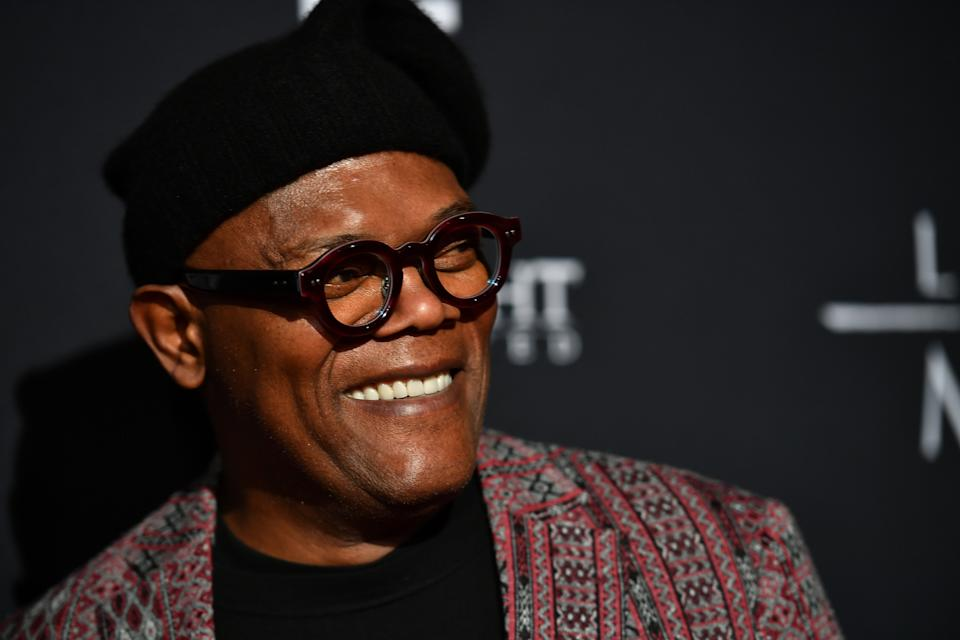 Samuel L. Jackson wore a mask celebrating his Marvel roots as he got vaccinated for COVID-19. (Photo: Paras Griffin/Getty Images for Roadside Attractions )