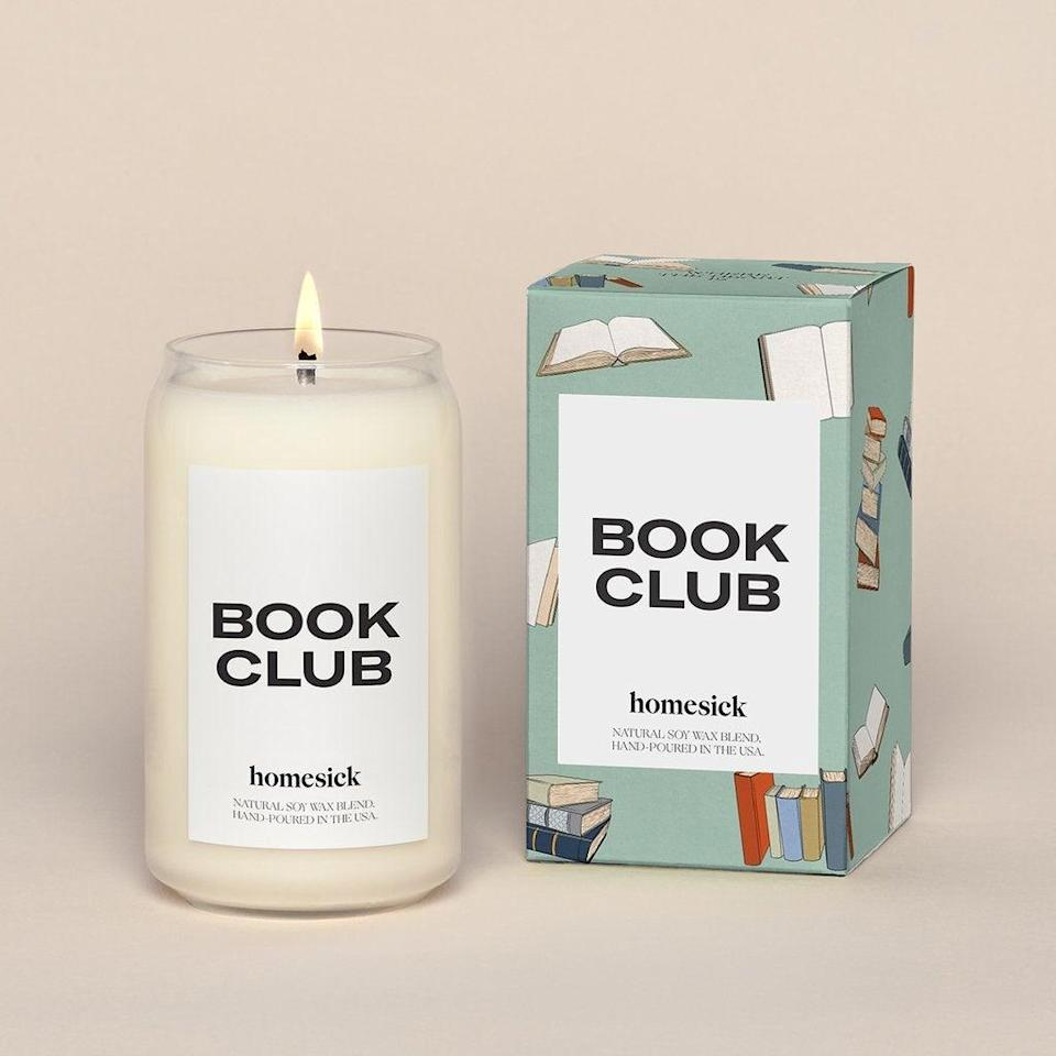 "<h2>Homesick Book Club Candle</h2><br><strong>Notes:</strong> Orange, nutmeg, sandalwood<br><strong>Made From:</strong> Natural soy wax blend <br><br><strong><em><a href=""https://homesick.com/collections/candles"" rel=""nofollow noopener"" target=""_blank"" data-ylk=""slk:Shop Homesick Candles"" class=""link rapid-noclick-resp"">Shop Homesick Candles</a></em></strong> <br><br><strong>Homesick Candles</strong> Book Club Candle, $, available at <a href=""https://go.skimresources.com/?id=30283X879131&url=https%3A%2F%2Ffave.co%2F3nR0FE1"" rel=""nofollow noopener"" target=""_blank"" data-ylk=""slk:Homesick Candles"" class=""link rapid-noclick-resp"">Homesick Candles</a>"