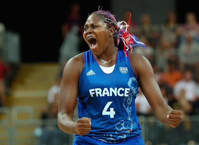 LONDON, ENGLAND - JULY 28: Isabelle Yacoubou #4 of France reacts against Brazil during Women's Basketball on Day 1 of the London 2012 Olympic Games at the Basketball Arena on July 28, 2012 in London, England. (Photo by Christian Petersen/Getty Images)