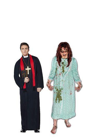 """<p>Fun fact: <em>The Exorcist </em>was so terrifying when it came out in 1973 that viewers reportedly fainted in the theaters or left crying. You can channel a little bit of that horror with this Regan and Father Karras costume.</p><p><a class=""""link rapid-noclick-resp"""" href=""""https://www.amazon.com/Costume-Adults-Religious-Uniform-Minister/dp/B072N9TQK5?tag=syn-yahoo-20&ascsubtag=%5Bartid%7C10070.g.28669645%5Bsrc%7Cyahoo-us"""" rel=""""nofollow noopener"""" target=""""_blank"""" data-ylk=""""slk:Shop Men's Costume"""">Shop Men's Costume</a></p><p><a class=""""link rapid-noclick-resp"""" href=""""https://www.amazon.com/Morbid-Enterprises-Exorcist-Regan-Costume/dp/B00CQDDKNS?tag=syn-yahoo-20&ascsubtag=%5Bartid%7C10070.g.28669645%5Bsrc%7Cyahoo-us"""" rel=""""nofollow noopener"""" target=""""_blank"""" data-ylk=""""slk:Shop Women's Costume"""">Shop Women's Costume</a></p>"""