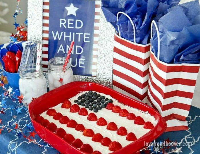 """<p>A colorful <a href=""""http://www.lovefromtheoven.com/2014/07/02/red-white-blue-flag-cake/"""" class=""""link rapid-noclick-resp"""" rel=""""nofollow noopener"""" target=""""_blank"""" data-ylk=""""slk:Red, White And Blue Flag Cake"""">Red, White And Blue Flag Cake</a> is the quintessential Fourth of July treat! All you need is a cake knife!</p>"""