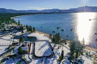 <p>In an aerial view from a drone, the Boston Bruins and the Philadelphia Flyers warm-up prior to the 'NHL Outdoors At Lake Tahoe' at the Edgewood Tahoe Resort on February 21, 2021 in Stateline, Nevada. (Photo by Ezra Shaw/Getty Images)</p>