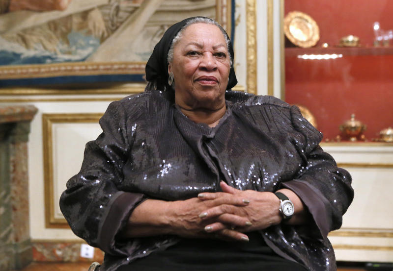 US author Toni Morrison poses on September 21, 2012 during a reception sponsored by the US ambassador at his residence in Paris, as part of the 10th America Festival. The America Festival is a cultural event held in France every two years which gathers well-known figures from the world of literature, music and cinema. AFP PHOTO / PATRICK KOVARIK (Photo credit should read PATRICK KOVARIK/AFP/GettyImages)