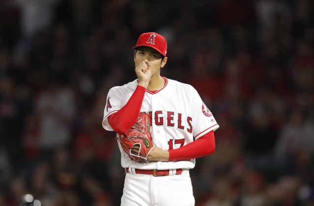 Los Angeles Angels starting pitcher Shohei Ohtani only lasted two innings in a loss vs. Boston on Tuesday. (AP)