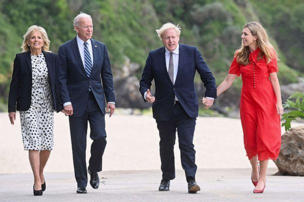 PHOTO: Britain's Prime Minister Boris Johnson, his wife Carrie Johnson and U.S. President Joe Biden with first lady Jill Biden walk outside Carbis Bay Hotel, Carbis Bay, Cornwall, Britain, June 10, 2021.  (Toby Melville/Reuters)