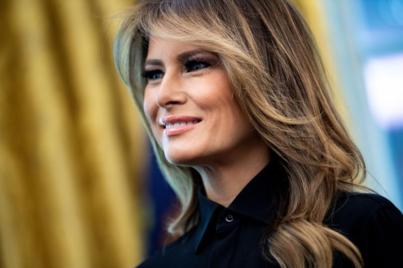 First Lady Melania Trump visited Boston Medical Center on November 5, 2019, to learn about a cuddle program that helps babies born with drug-withdrawal symptoms. (Photo: BRENDAN SMIALOWSKI/AFP via Getty Images)