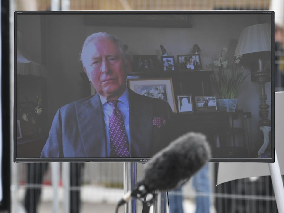 The Prince of Wales, known as the Duke of Rothesay while in Scotland, sends a video message to guests at the opening of the NHS Nightingale Hospital at the ExCel centre in London, a temporary hospital with 4000 beds which has been set up for the treatment of Covid-19 patients.