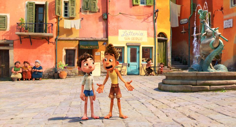 """This image released by Disney shows characters Alberto, voiced by Jack Dylan Grazer, right, and Luca, voiced by Jacob Tremblay in a scene from the animated film """"Luca."""" (Disney via AP)"""