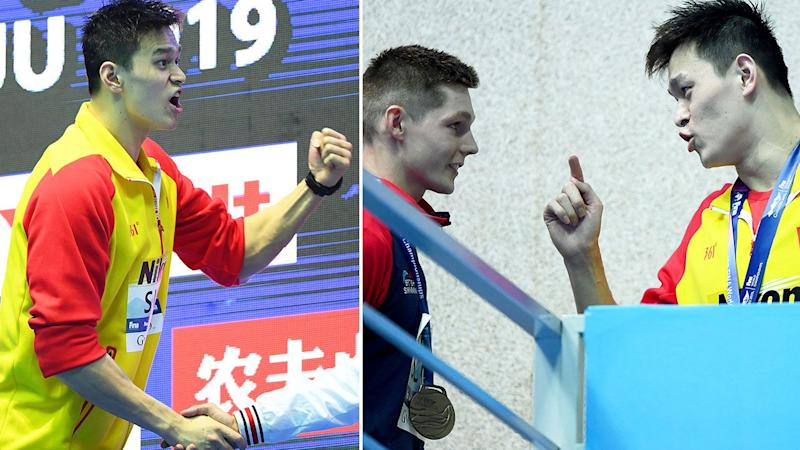 Sun Yang angrily confronted Duncan Scott after screaming in his direction. Pic: Getty