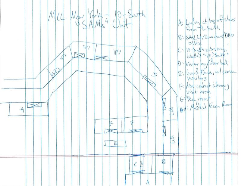 "A sketch of the MCC 10-South ""SAMs"" Unit made by Marty Gottesfeld during his time at the MCC. (Photo: courtesy of Dana Gottesfeld)"