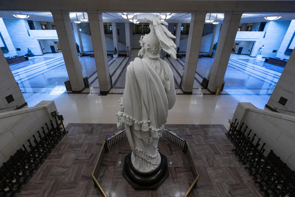 This June 30, 2021, photo shows the Capitol Visitor Center in Washington. The U.S. Capitol is still closed to most public visitors. It's the longest stretch ever that the building has been off-limits in its 200-plus year history. (AP Photo/Alex Brandon)