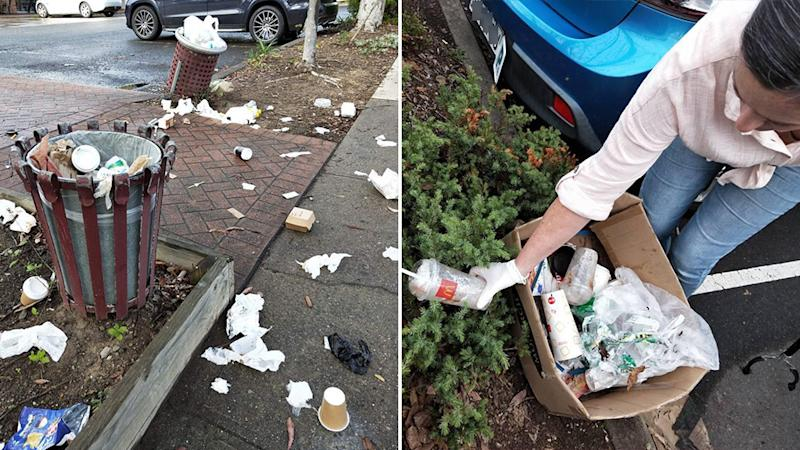 Anita Horan came across rubbish spilling out of the bins and on to the street, prompting her to return with gloves and clean it up. Source: Supplied/Anita Horan