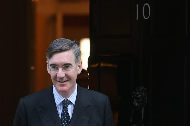 Britain's Leader of the House of Commons Jacob Rees-Mogg leaves 10 Downing street in central London on October 28, 2019. - European Union members agreed today to postpone Brexit for up to three months, stepping in with their decision less than 90 hours before Britain was due to crash out with no divorce deal (Photo by ISABEL INFANTES / AFP) (Photo by ISABEL INFANTES/AFP via Getty Images)