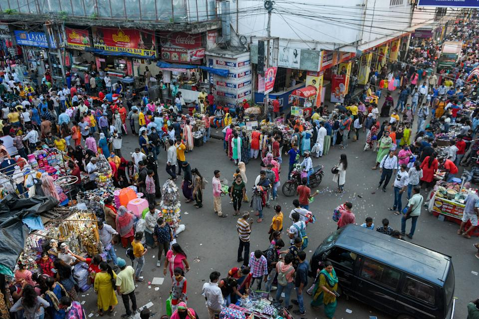 Shoppers flung to New market shopping center in Kolkata ahead of Durga puja festival in the city amidst the growing number of COVID-19 cases in the city . No social distancing or proper usage of mask found among the shoppers. India today stands as the second highest affected country in the world , with daily infection count making records regularly. (Photo by Debarchan Chatterjee/NurPhoto via Getty Images)