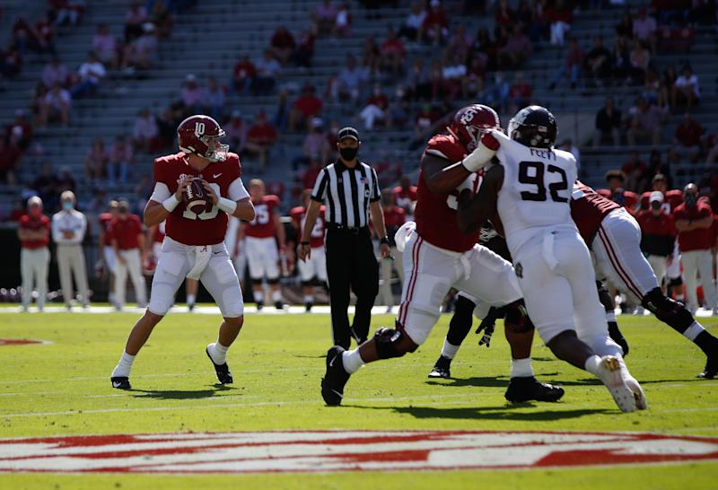 TUSCALOOSA, AL - OCTOBER 3: Mac Jones #10 of the Alabama Crimson Tide looks downfield for a receiver against the Texas A&M Aggies on October 3, 2020 at Bryant-Denny Stadium in Tuscaloosa, Alabama. (Photo by UA Athletics/Collegiate Images/Getty Images)