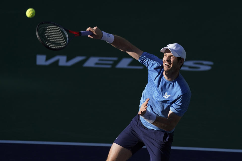 Andy Murray, of Britain, returns a shot to Alexander Zverev, of Germany, at the BNP Paribas Open tennis tournament Tuesday, Oct. 12, 2021, in Indian Wells, Calif. (AP Photo/Mark J. Terrill)