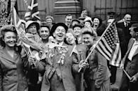 <p>No flag went unwaved on V-E Day in London's Piccadilly.</p>
